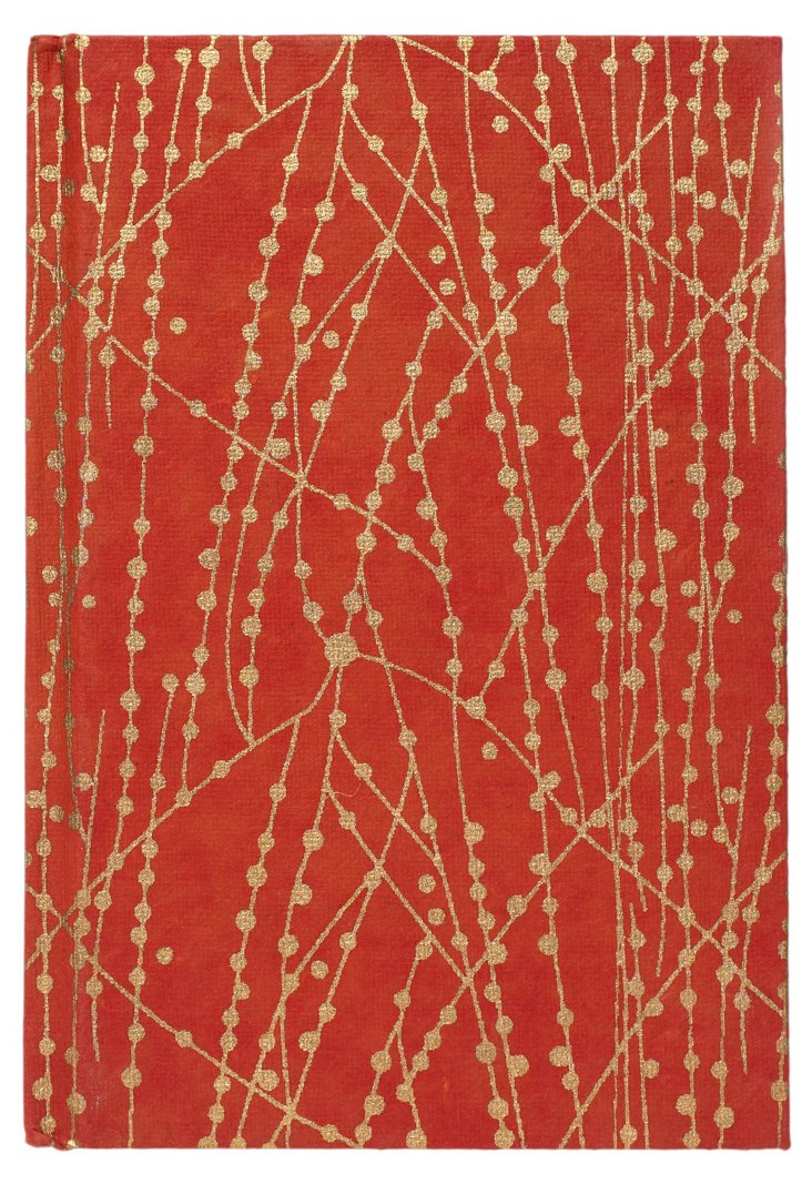 S/2 Cotton Journals, Red/Gold