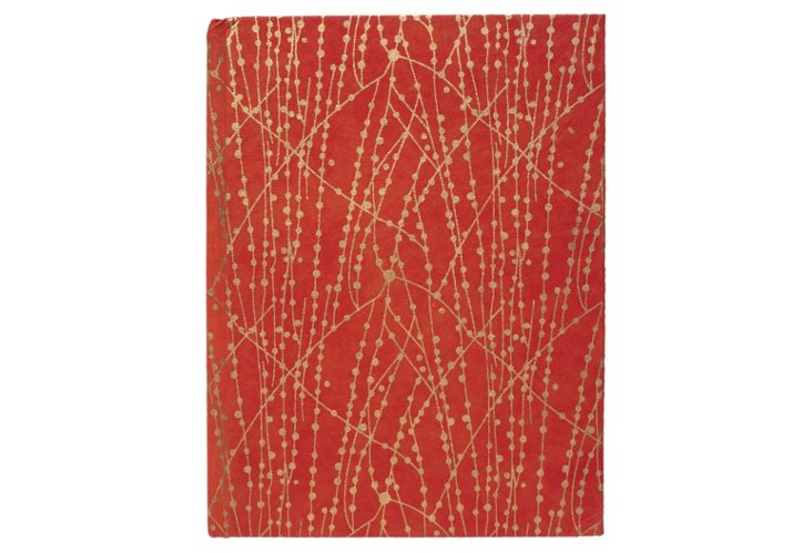 S/2 Large Cotton Journals, Red/Gold