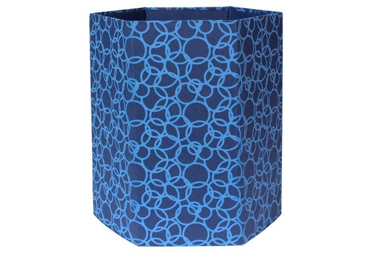 Wastepaper Basket, Blue Circles