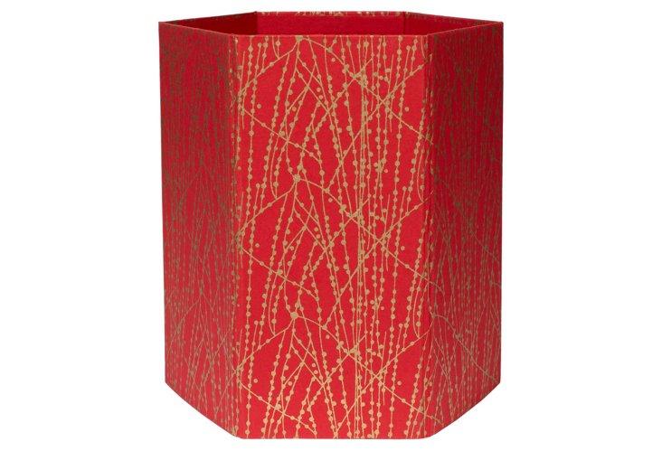 Wastepaper Basket, Red/Gold