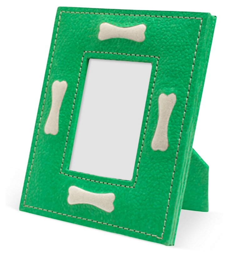 "2"" x 3"" Dog Bone Motif Frame, Green"