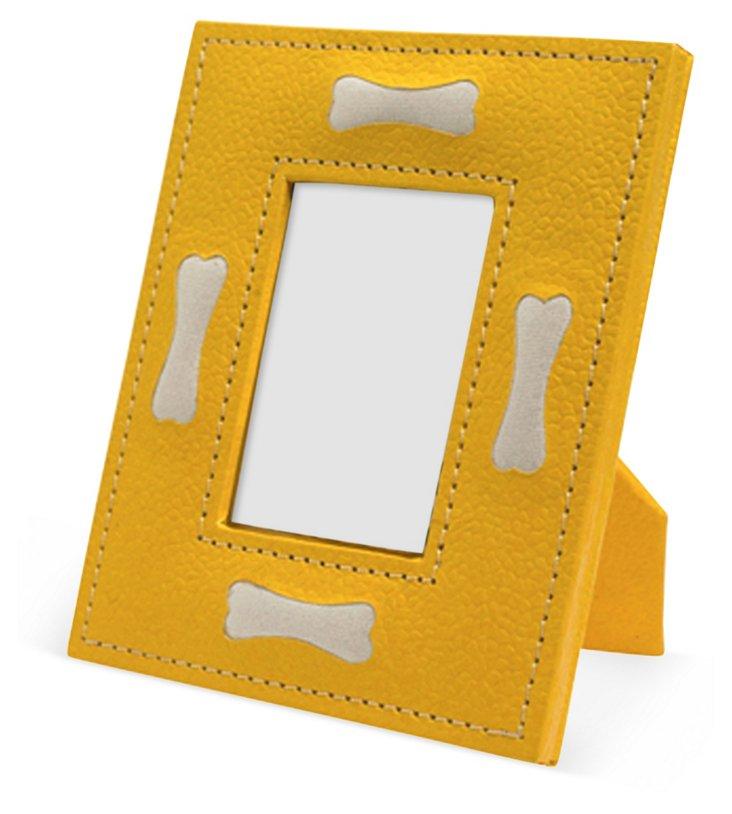 "2"" x 3"" Dog Bone Motif Frame, Yellow"