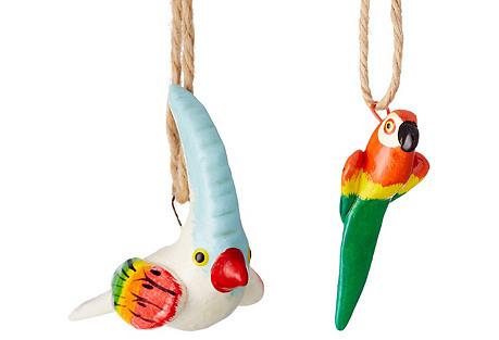 Asst. of 2 Tropical Bird Ornaments