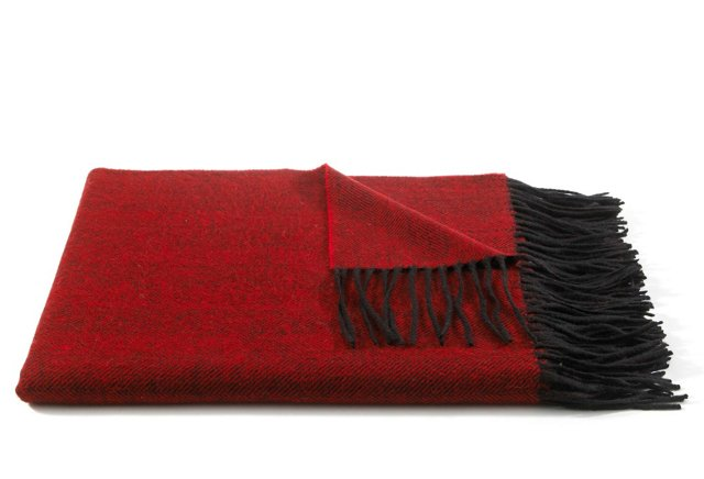 Herringbone Throw, Dark Red/Gray