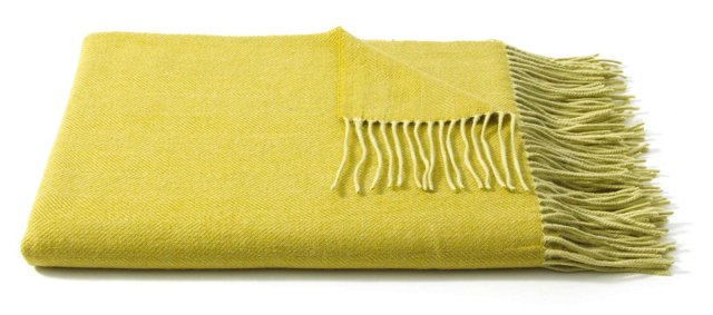 Two-Tone Cashmere-Blended Throw, Peridot