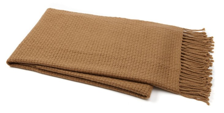 Chic Cashmere-Blend Throw, Camel