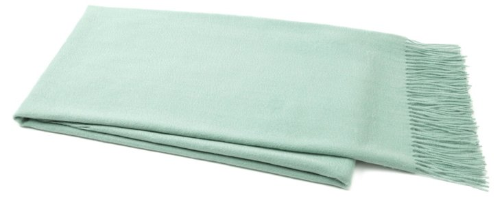 Weave Cashmere-Blended Throw, Aqua