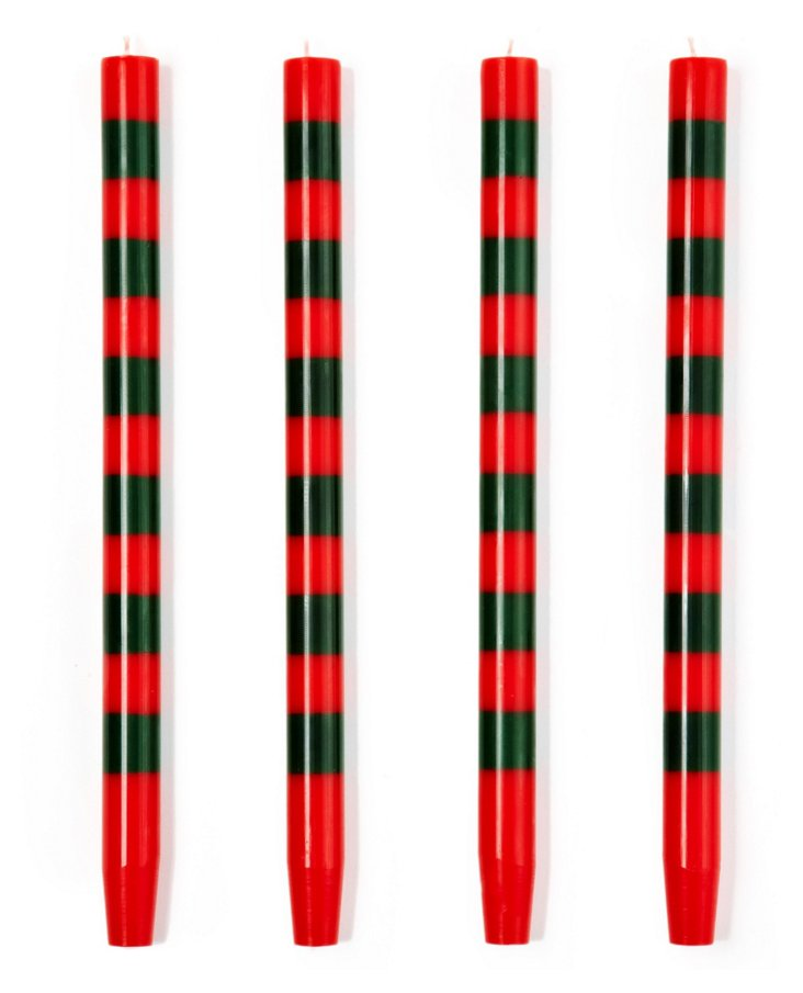 S/4 Thin-Striped Red-Holly Tapers