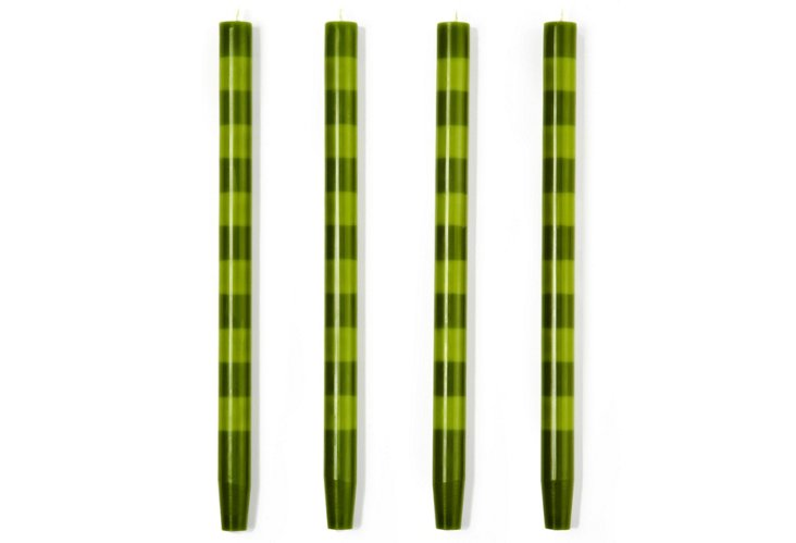 S/4 Taper Candles,  Fern/Sapling