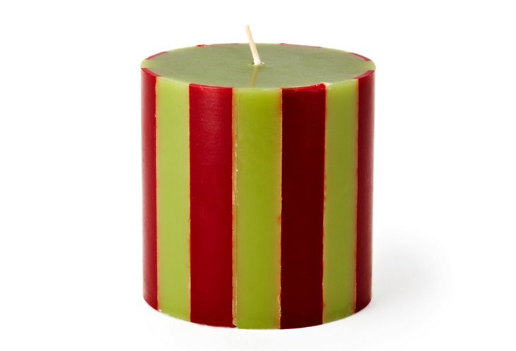 Striped Pillar Candle, Green/Scarlet