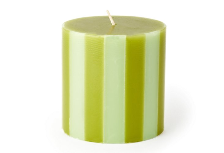 Striped Pillar Candle, Wasabi/Mint