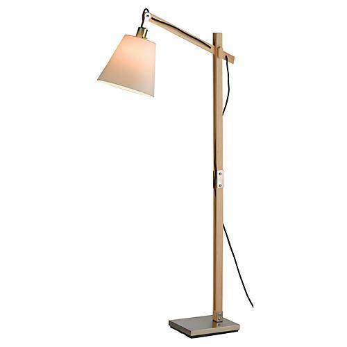 Walden Floor Lamp, Satin Steel/Natural