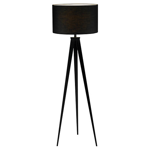 Director's Tripod Floor Lamp, Black