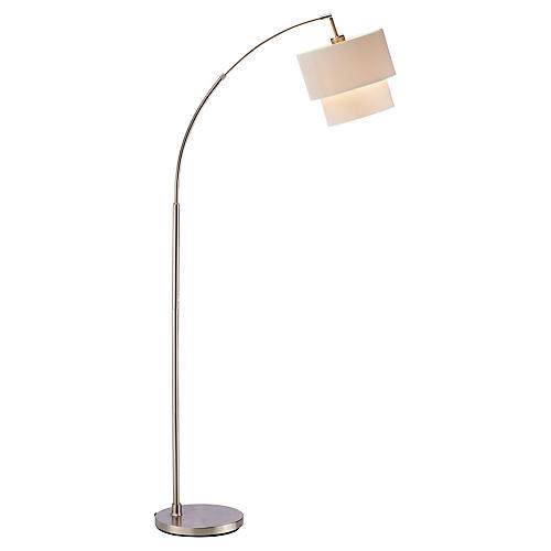 Gala Arc Lamp, Satin Steel