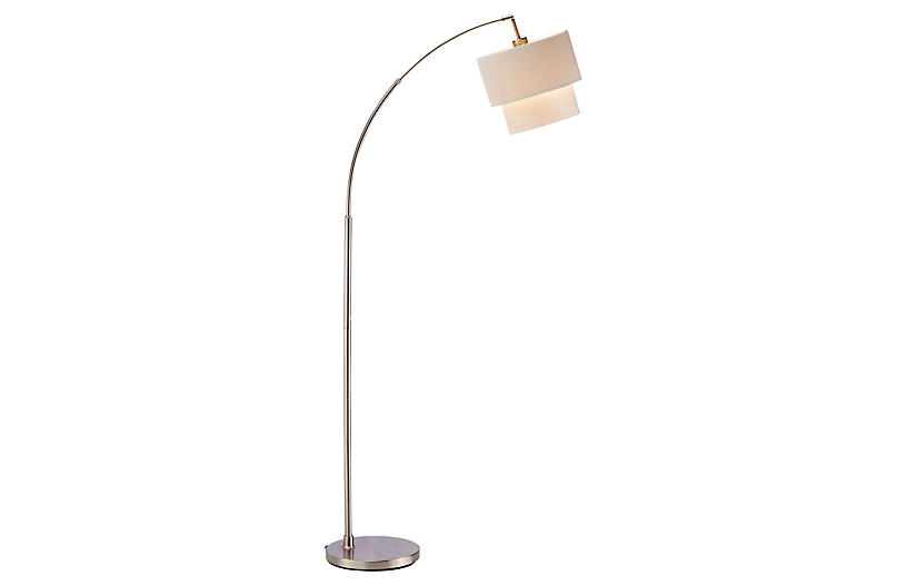 Gala Arc Lamp, Satin Steel