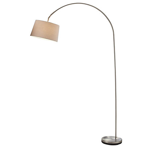 Goliath Arc Lamp, Satin Steel
