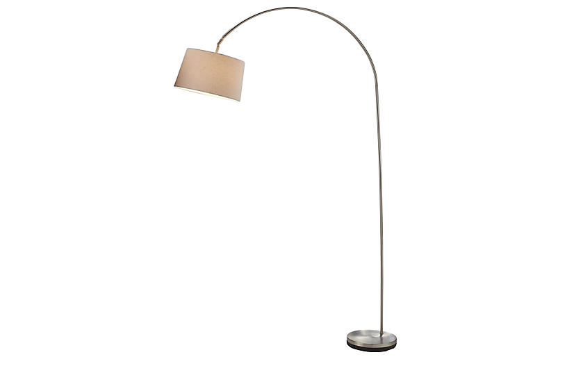 Goliath Arc Lamp, Satin Steel