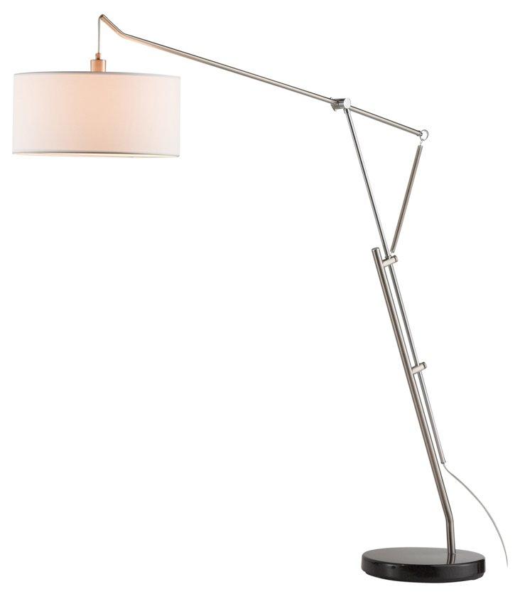 Brisbane Arc Lamp, Satin Steel