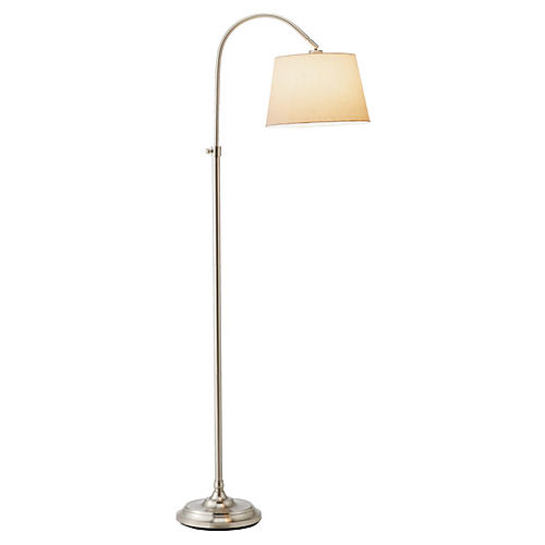 Bonnet Floor Lamp, Satin Steel