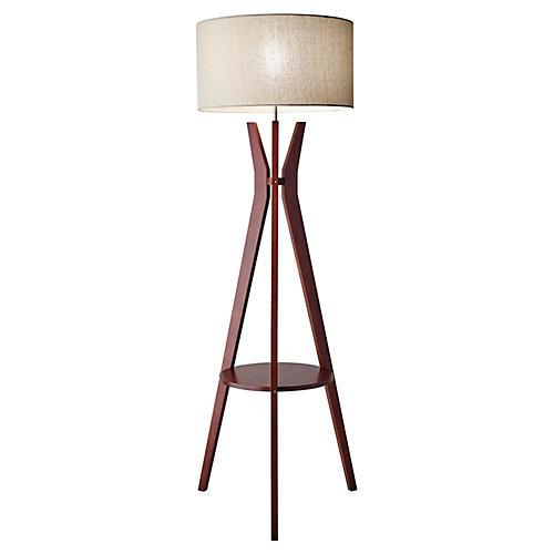 Bedford Shelf Floor Lamp, Walnut