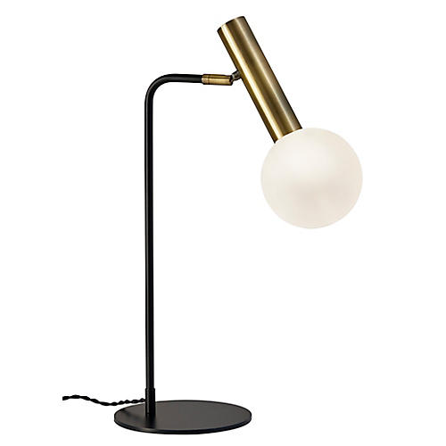 Emery Desk Lamp, Antiqued Brass