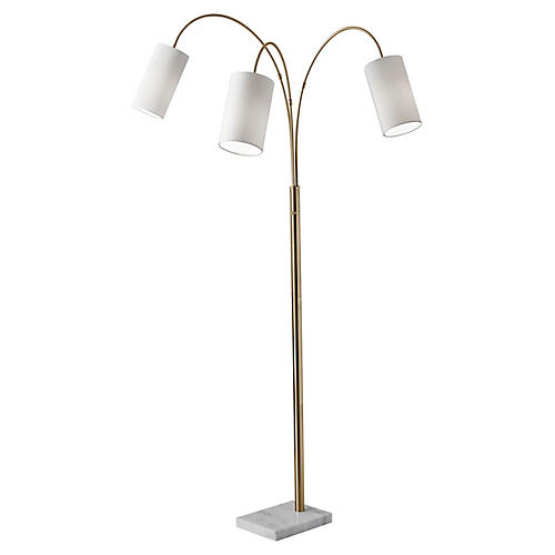 Heather 3-Light Floor Lamp, Antiqued Brass