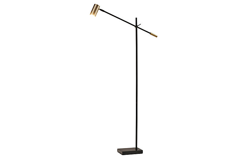 Jarvis Floor Lamp, Black/Antiqued Brass