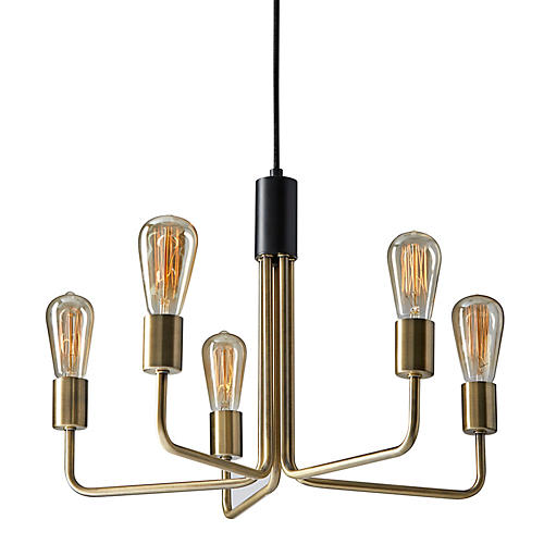 Foster 5-Light Chandelier, Antiqued Brass/Black