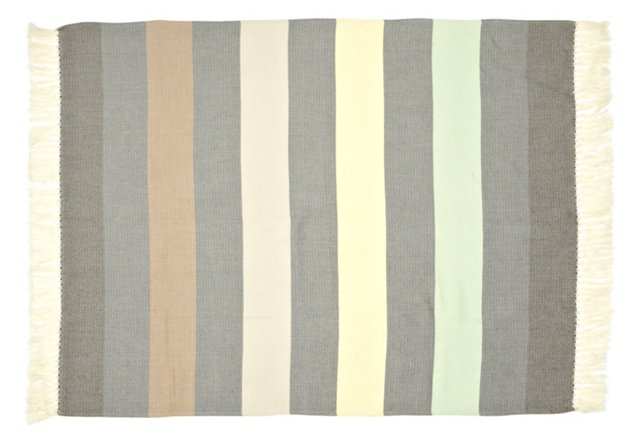Striped Mohair-Blended Throw, Multi