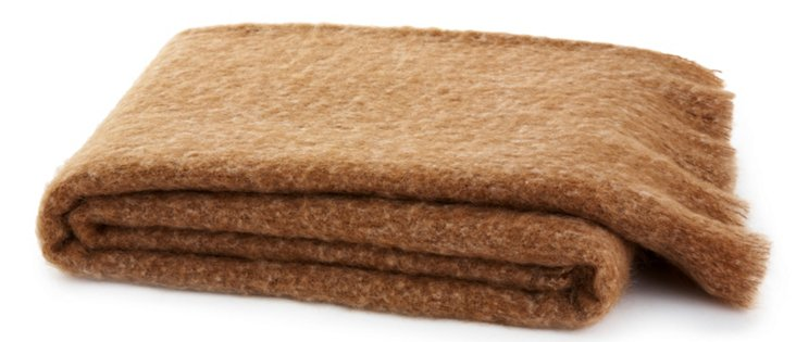 Lush Mohair-Blended Throw, Camel