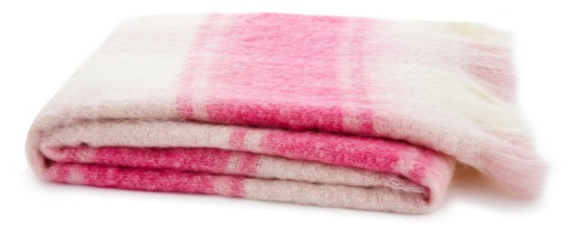 Striped Mohair-Blended Throw, Pink/Cream