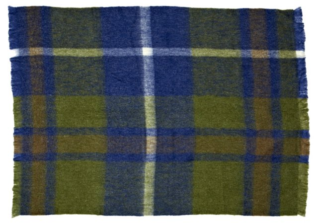 Plaid Mohair-Blend Throw, Multi