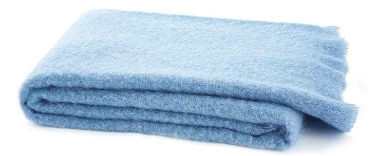 Mohair-Blend Throw, Light Blue