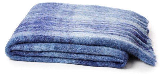 Plaid Mohair-Blend Throw, Blue