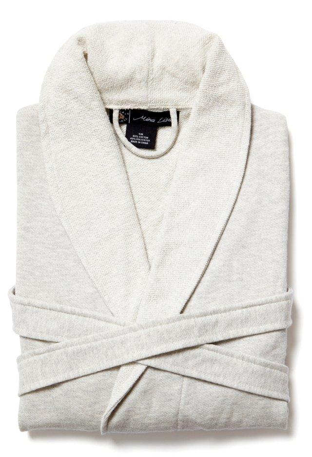 Sweatshirt Knit Robe, Heather Natural, L