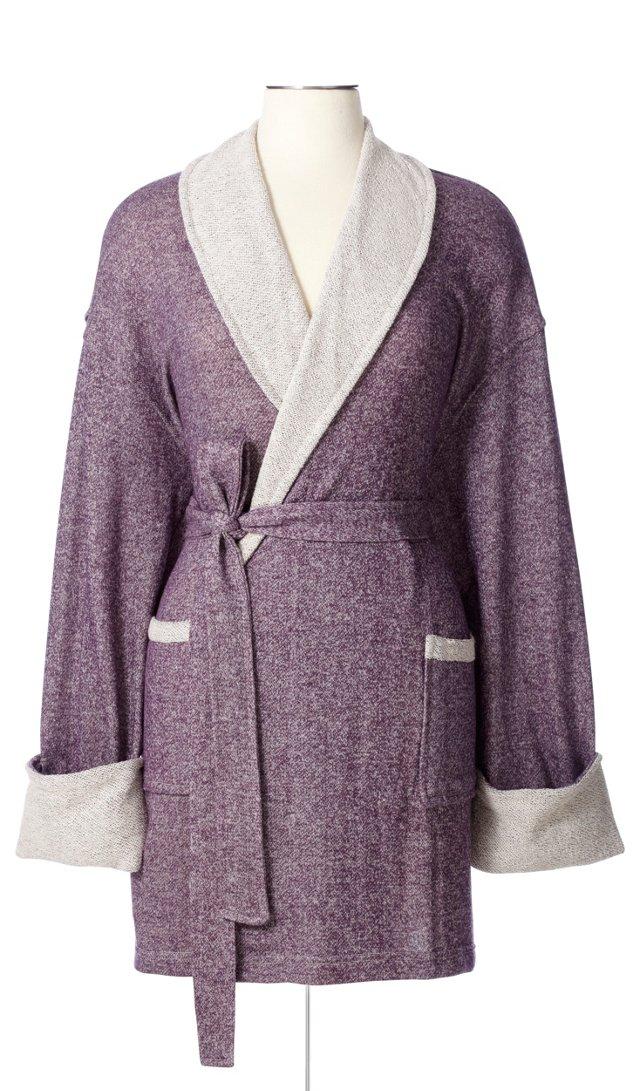 Sweatshirt Knit Robe, Eggplant