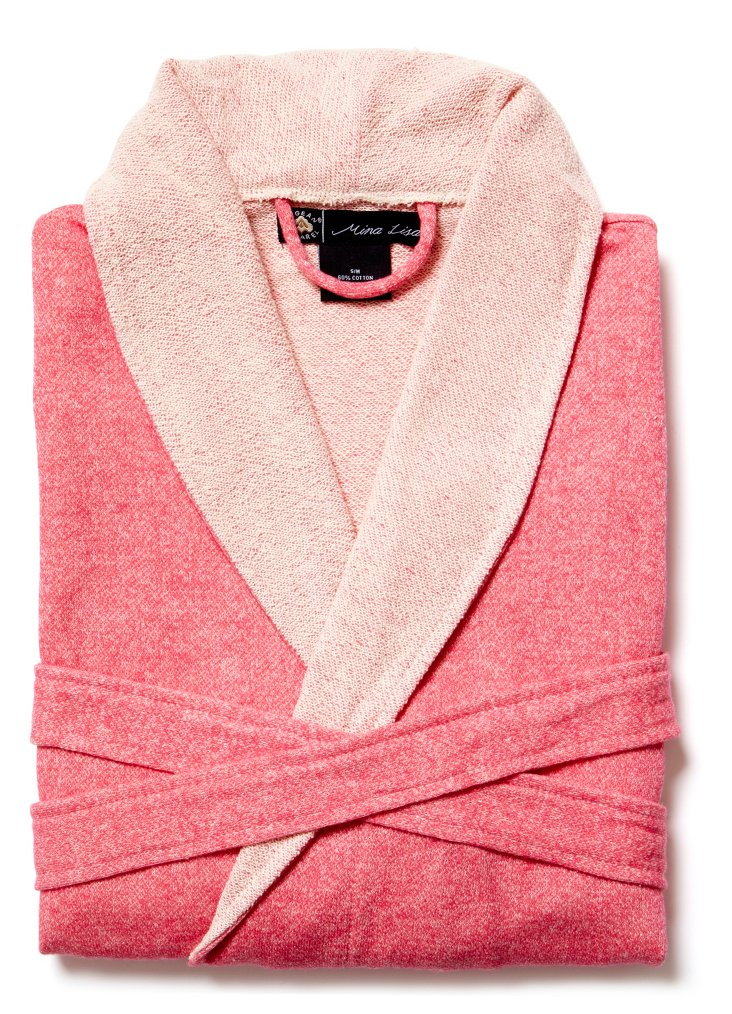 Sweatshirt Knit Robe, Fuchsia, L/XL