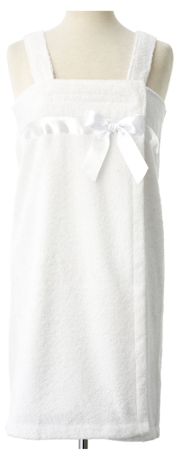 Terry Loop Shower Wrap w/ Bow, White