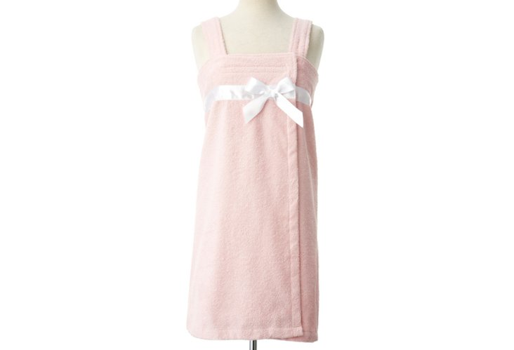 Terry Loop Shower Wrap w/ Bow Trim, Pink