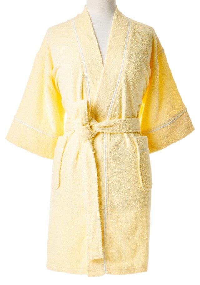 Zero Twist Kimono Robe, Yellow/White