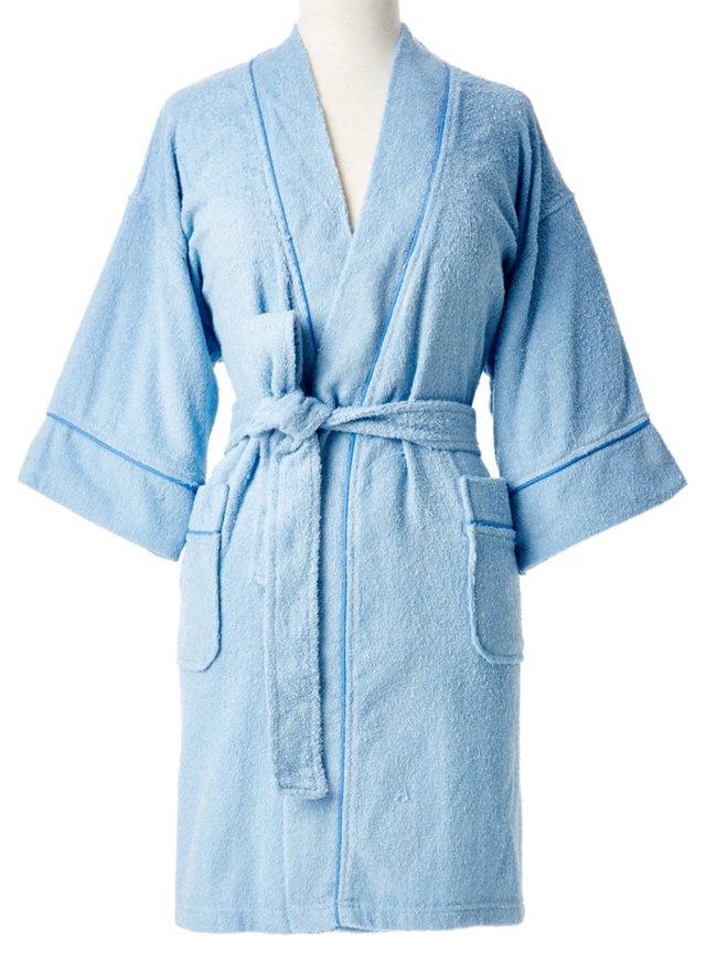 Zero Twist Kimono Robe, Light Blue