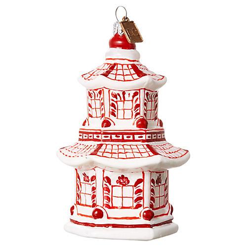 Pagoda Ornament, Red/White