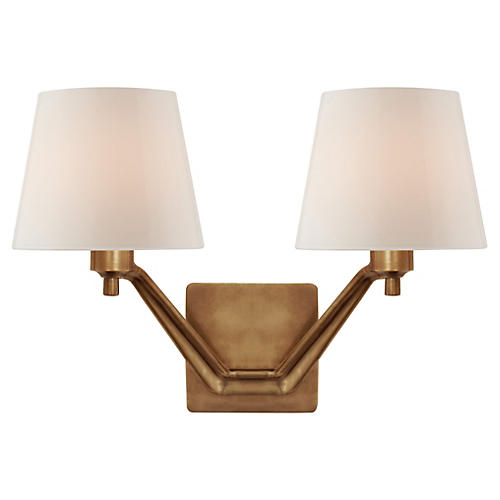 Union Double-Arm Glass Sconce, Antiqued Brass