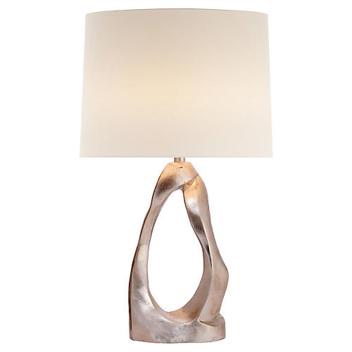 Cannes Table Lamp, Burnished Silver Leaf