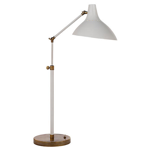 Charlton Table Lamp, Plaster White/Brass