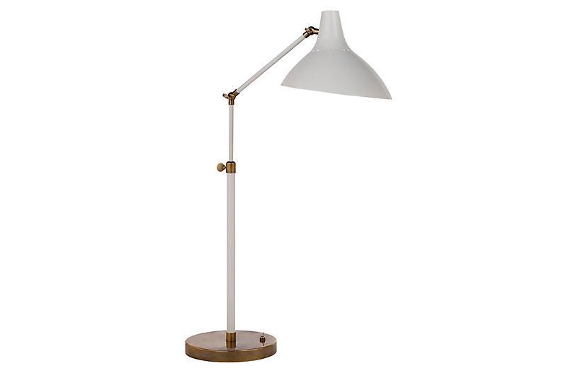 Charlton Table Lamp, Plaster White/Brass