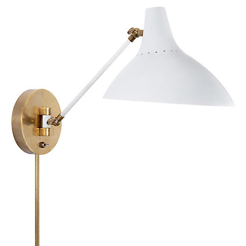 Charlton Sconce, Plaster White/Brass