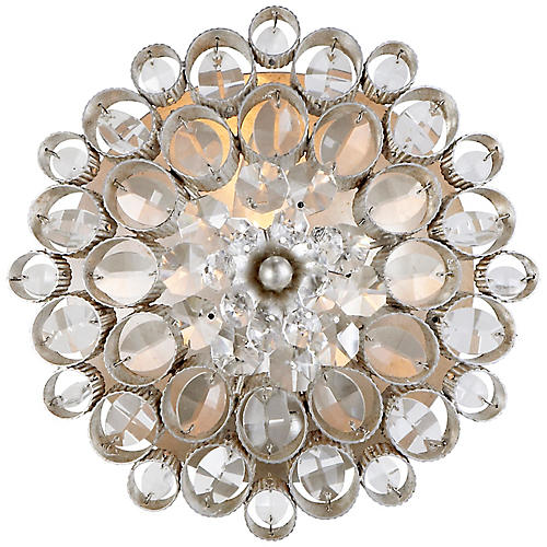 Claret Round Sconce, Silver Leaf/Clear
