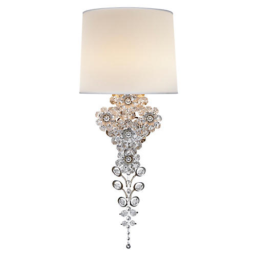 Claret Tall Sconce, Silver Leaf/Clear