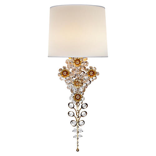 Claret Tall Sconce, Gild/Clear